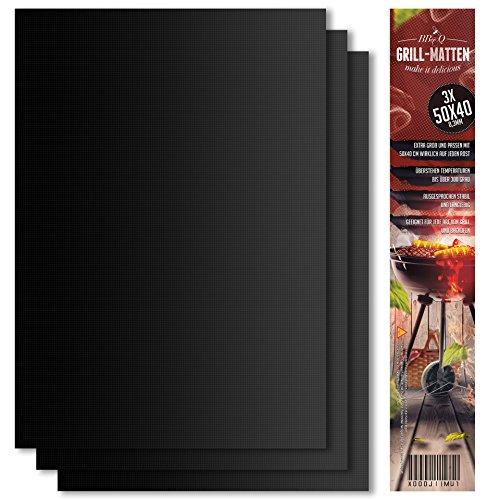 BeeClean Premium BBQ Grillmatte 3er Set – 50 x 40 cm – Hochwertige Grillmatte für Gasgrill – Perfekte Backunterlage - Robust und extra dick – BBQ Matte zum Grillen - Rechteckig