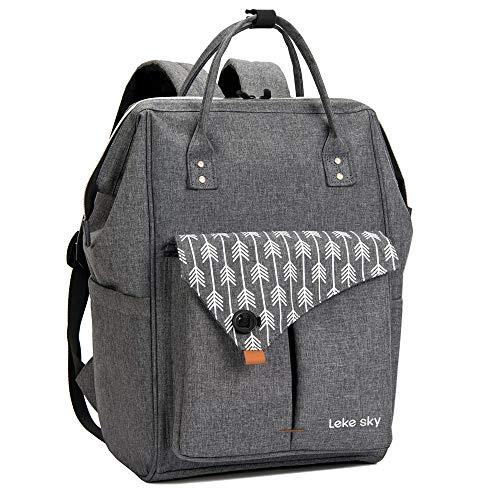 Lekesky Rucksack Damen für Schule Uni Reisen Freizeit Job mit Laptopfach & Anti Diebstahl Tasche, Grau