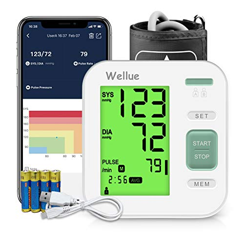 Blutdruckmessgerät Oberarm, Blutdruckmessgerät mit APP Datenverwaltungsfunktion, Digitales Blutdruckmessgerät mit Arrhythmie Erkennen, Großer Manschette 22-40cm, Doppelbenutzer, 3-Farben HD-Bildschirm