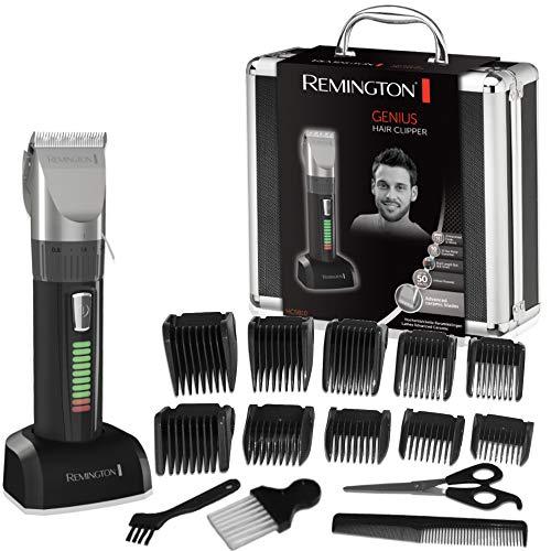 Remington Haarschneidemaschine HC5810 (selbstschärfende Keramikklingen, 10 Aufsteckkämme + Präzisionslängeneinstellung, Netz-/Akkubetrieb, Lithium, Profi-Alukoffer) Haarschneider, Haartrimmer