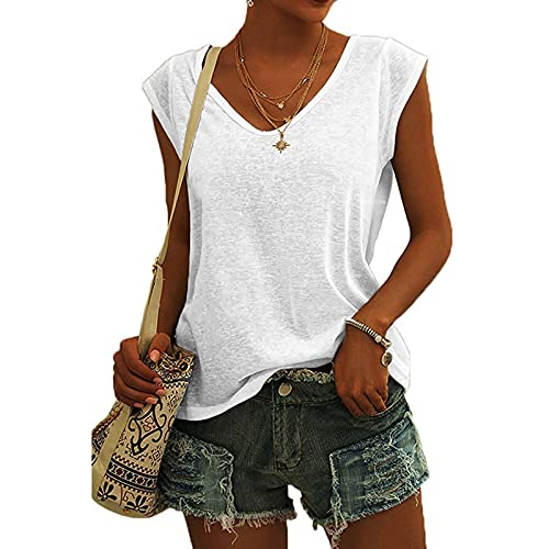 Bluse Damen Elegant ärmellose t-Shirt Crop Tops Shirt Mädchen Weiß Oberteile Frauen Schwarz Kleidung Frau Grau Sommer Shirts Top Damen V-Ausschnitte Tshirt Casual Rundhals Klamotten Teenager Mädchen