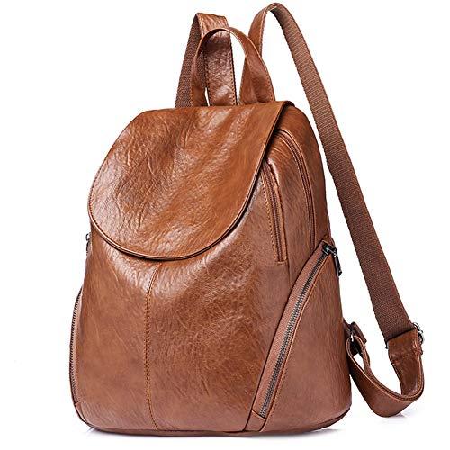 Damen Rucksack, massives PU-Leder, modisch, wasserdicht, große Kapazität, lässiger Tagesrucksack, Schultasche Free Size braun