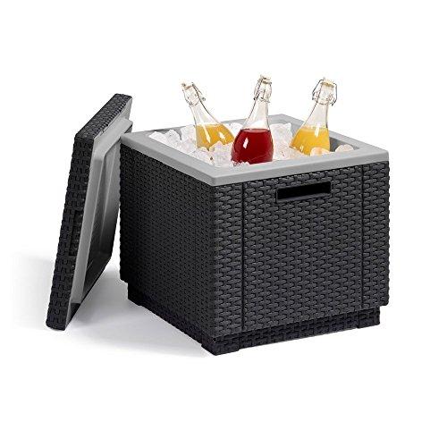 Allibert Kühlbox Beistelltisch inkl. Kühlakku Ice Cube Rattanoptik graphit