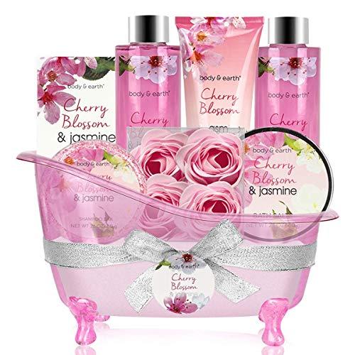 Damen Geschenkset, Body&Earth 8 tlg. Spa Set mit Kirschblüten und Jasmin Duft, inkl. Schaumbad, Duschgel, Badesalz,Haarseife, Bodylotion, Blumenseife, Geschenkideen, Geburtstagsgeschenk für frauen