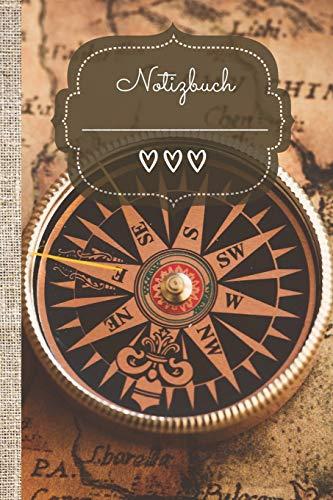 Notizbuch: Kompass! Das linierte Notizbuch in ca. A5 Format in angesagten boho chique Look zeigt dir den Weg zu deinen Reisezielen und Lebenszielen.