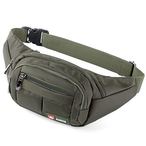 AirZyx wasserdichte Bauchtasche Geeignet für Reise, Sport & alle Outdoor Aktivitäten, Hüfttasche für Damen und Herren, Bauchtasche Wasserdicht Hüfttaschen für Running (Olive)