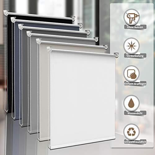 Sanfree Thermorollo Klemmfix ohne Bohren, Verdunkelungsrollo für Fenster Sichtschutz, Rollo Sonnenschutz Klemmrollo Fensterrollo Innen Blickdicht Silberbeschichtung,Weiß 100x150cm (BxH)