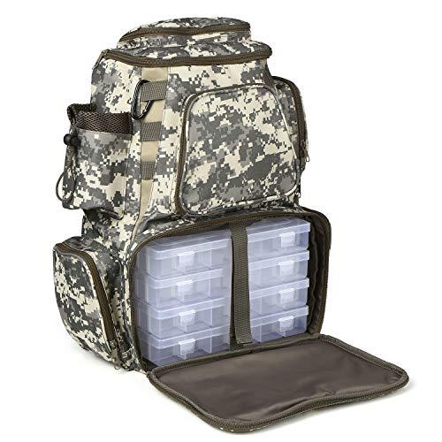 Lixada Angelgerät Tasche Angelrucksack mit 4 Angelgeräten Boxen Wasserdichtes Fliegenfischen Pack mit Rutenhaltern Sports Camping Wanderrucksack