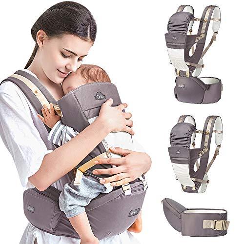 Ergonomische Babytrage Babytragetuch Einstellbares Mehrere Positionen Multifunktions-Freisprecheinrichtung Verstellbarer Rucksack für Baby Neugeborene/Kleinkinder (Grau)