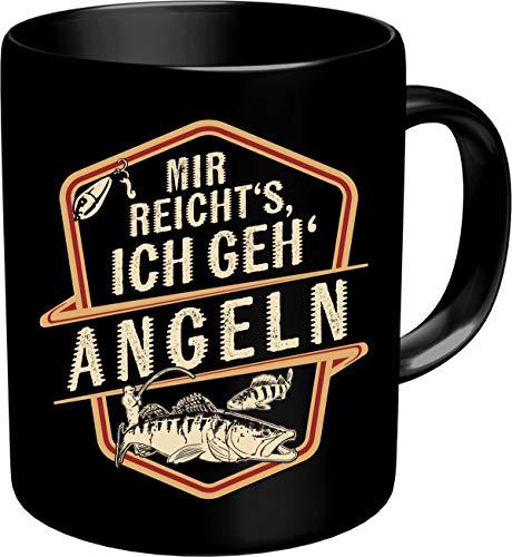 RAHMENLOS Kaffeetasse Becher für Angler: Mir reichts - Ich GEH Angeln - Im Geschenkkarton