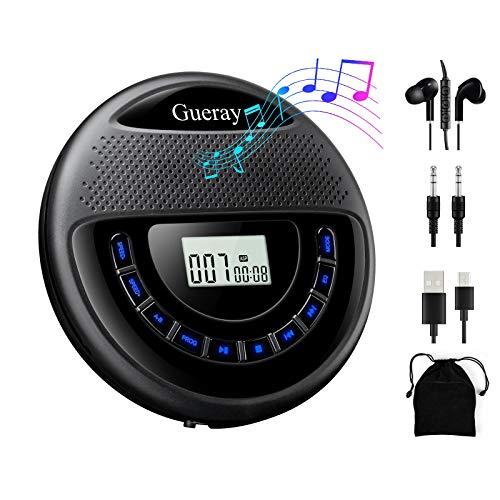Gueray CD Player Tragbarer mit Lautsprecher Discman mit Integrierte 1400mAh-Akku Lithium-Batterie Unterstützt TF Card Play mit Kopfhörer und 3,5 bis 3,5 mm AUX-Kabel für Kinder Hörbücher Musikhören