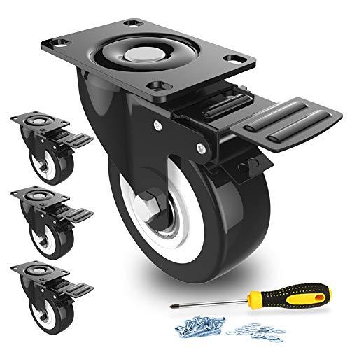 Lenkrollen 4 Stück Transportrollen mit Sicherheitsverriegelung 50mm Räder für Möbel geräuschlose Schwerlast Räder mit Polyurethan-Gummibeschichtung 360 Grad Drehbar 300Kg Gesamtkapazität