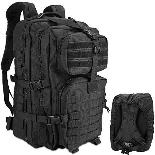 ProCase Militär Taktische Rucksack für Herren 48L,3 Tage GroßKapazität Outdoor Armee Assault Pack Go Bag Wandernrucksack für Wandern Jagd, Trekking Camping Outdoor Sports –Schwarz