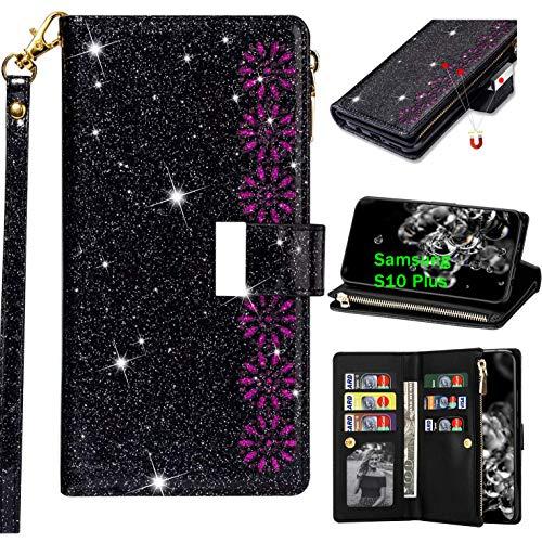 Nadoli Ledertasche für Samsung Galaxy S10 Plus,[Nicht für S10] 9 Kartenfächer Entwurf Blumen Reißverschluss Glänzend Bling Funkeln Magnetverschluss Brieftasche Hülle Etui mit Standfunktion